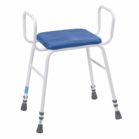 Adjustable Height PU Perching Stool with Tubular Arms