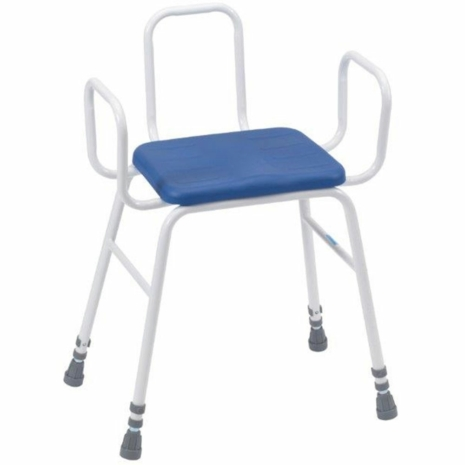 Adjustable Height PU Perching Stool with Tubular Arms and Back