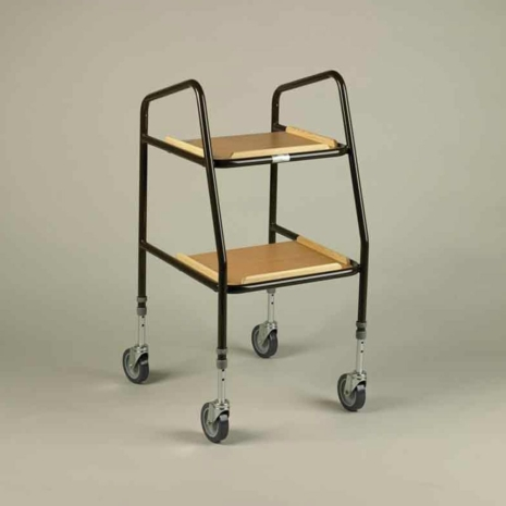 Adjustable Height Teak Shelf Trolley