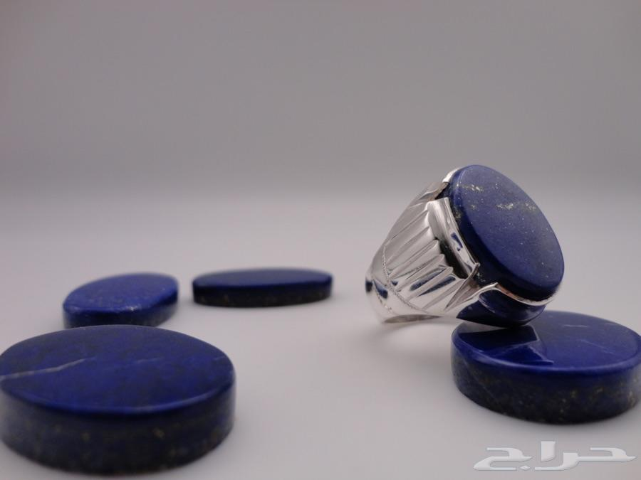 خاتم حجر الازورد الطبيعي