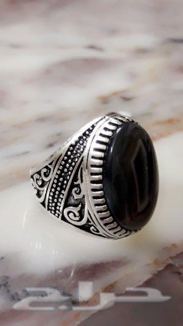 مزاد على خاتم فضه عقيق يماني طبيعي اصلي