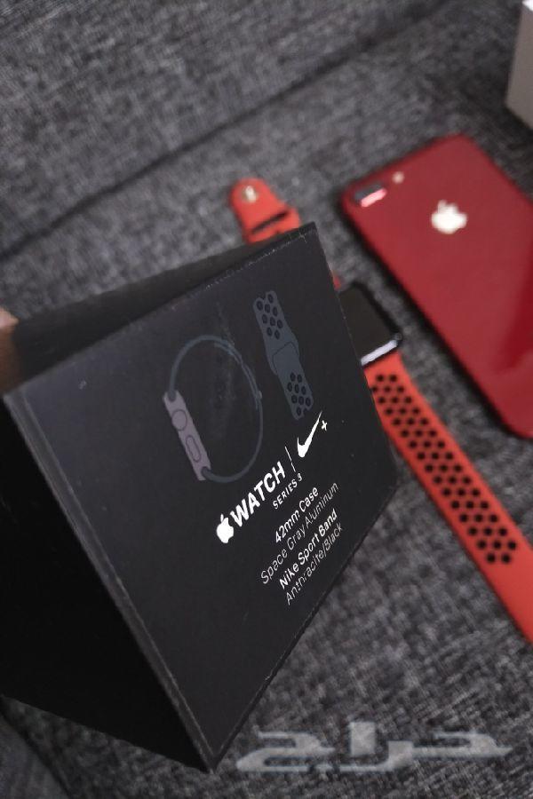 للبيع ايفون 8 بلس آحمر 64   ساعه ابل 3 نايك