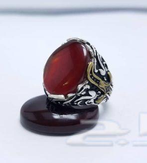 خاتم فضة على عقيق أحمر مميز بسعر مميز