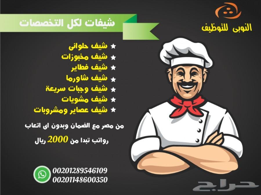 نوفر لكم من مصر شيفات لكل التخصصات مجانا