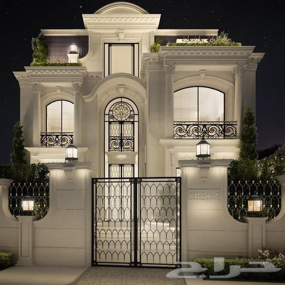 Qatar Luxury Homes: تصميم ديكور واجهات فلل حجر-كسر رخام-بروفايل