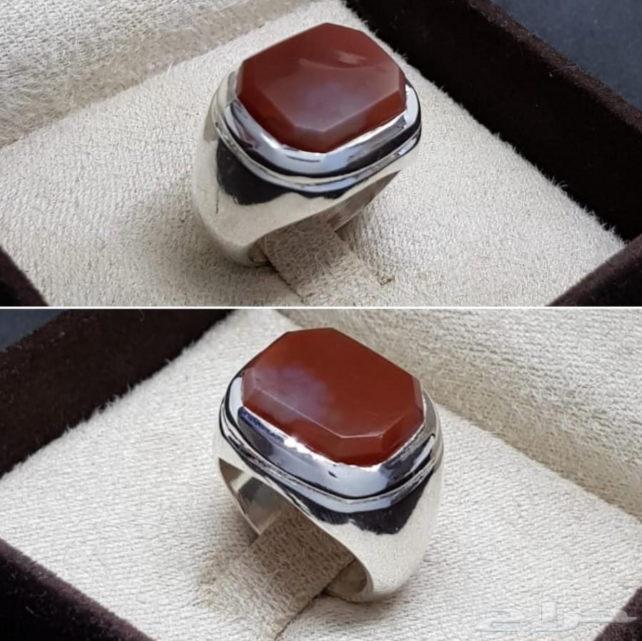 خاتم فضه ملكي فخم جدا بفص عقيق كبدي فاخر