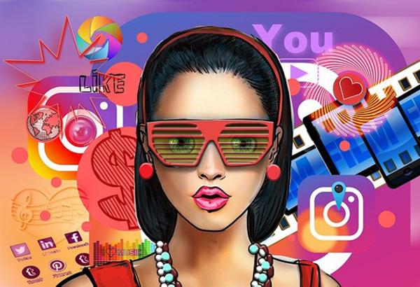 Illustrazione influencer con sfondo simboli social media
