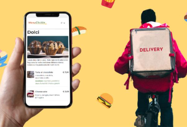 Cellulare con menu digitale e uomo in bici che consegna a domicilio
