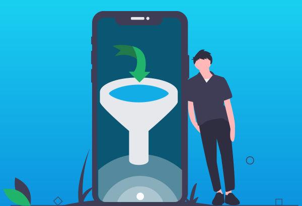 Illustrazione di un funnel sullo schermo di uno smartphone