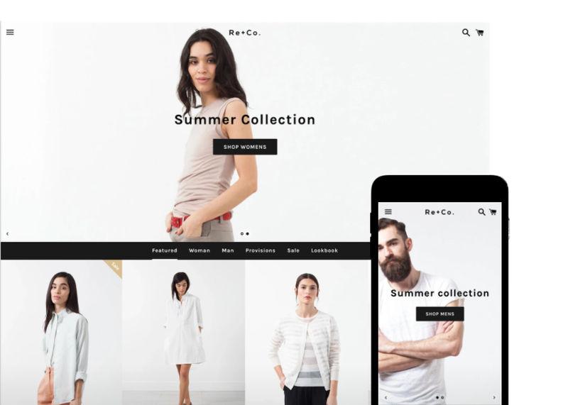 Esempio template shopify negozio di vestiti