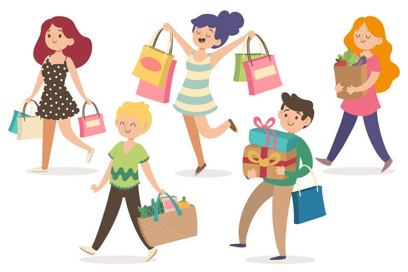 illustrazione di persone che fanno compere