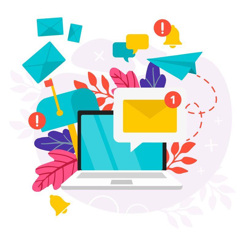 illustrazione di una buca delle lettere e una casella mail digitale