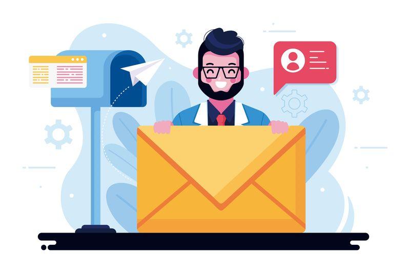 illustrazione con casella di posta e lettera