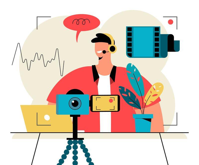 illustrazione influencer che registra un podcast