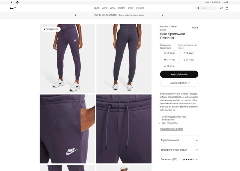 Screenshot scheda prodotto sito Nike