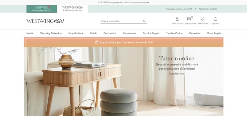 Screenshot homepage Westwing