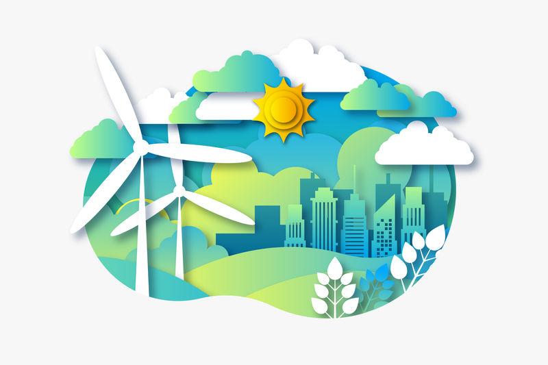 concettosostenibilità ambientale con città e mulini a vento