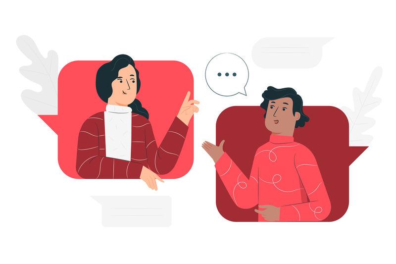due donne illustrate che conversano