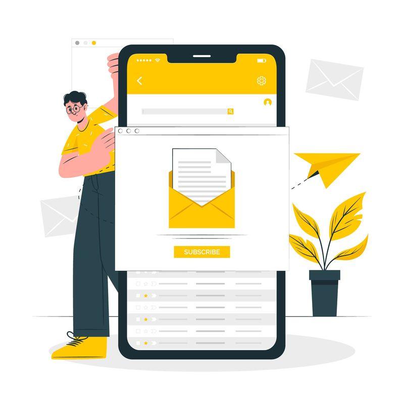 illustrazione concetto di email marketing in giallo