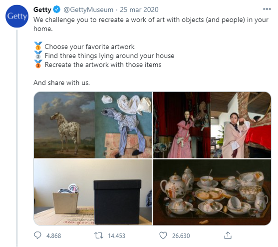 Getty Museum Challange istruzioni su Twitter dalla pagina ufficiale