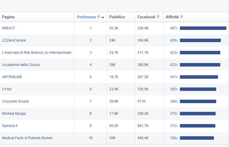 Audience Insights Facebook tabella mi piace sulla pagina
