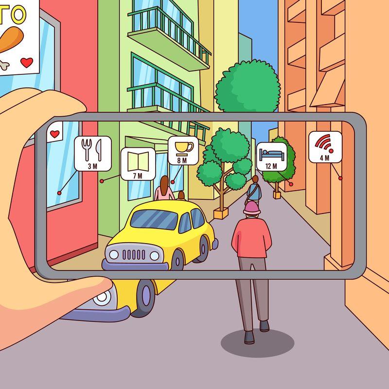 illustrazione di persona che usa la realtà aumentata con lo smartphone