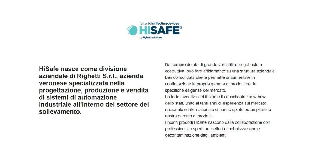 HiSafe logo e descrizione azienda