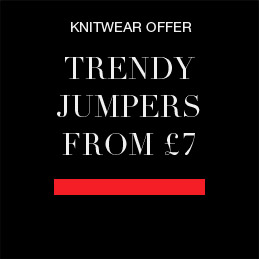 trendy jumpers and knitwear from £7