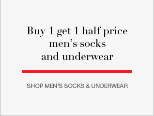 Buy one get one half price on mens socks and underwear