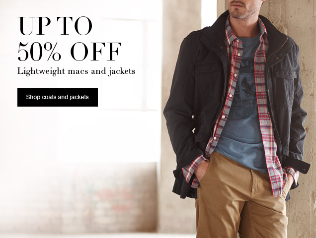 up to 50% of lightweight macs and jackets