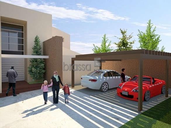 piscina de x barbacoa zona de parking con hormign impreso muros de piedra natural prgola de madera puerta de acceso a la parcela peatonal con