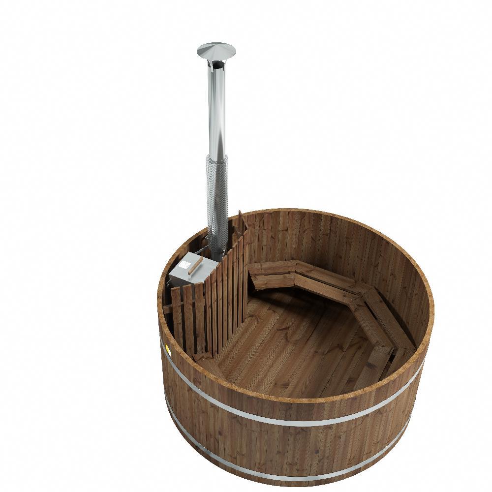 Das Original Woody XL von Kirami - das traditionelle Badefass für viele Badegäste.
