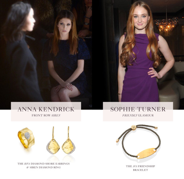 Anna Kendrick and Sophie Turner wear Monica Vinader Jewellery as they sit front row at New York Fashion Week