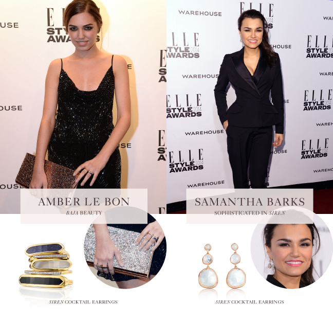 Amber le Bon and Samantha Barks wear Monica Vinader colour gemstones and stacking rings at the Elle UK Style Awards
