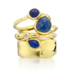 Gold Vermeil Siren Small Stacking Ring - Lapis - Monica Vinader