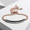 Rose Gold Vermeil Stellar Diamond Mini Bar Bracelet - Black Diamond - Monica Vinader