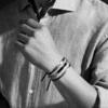 Linear Large Mens Friendship Bracelet - Denim Blue Cord Stack