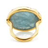 Gold Vermeil Siren Cocktail Round Ring - Aquamarine back