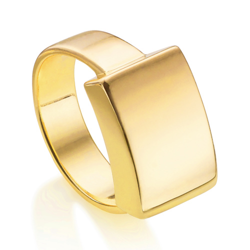 Gold Vermeil Linear Large Plain Ring - Monica Vinader