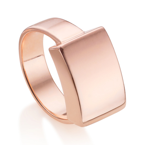 Rose Gold Vermeil Linear Large Plain Ring - Monica Vinader
