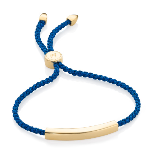 Gold Vermeil Linear Friendship Bracelet - Navy Metallica - Monica Vinader