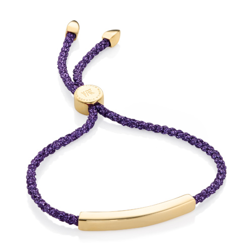 Gold Vermeil Linear Friendship Bracelet - Purple Metallica - Monica Vinader