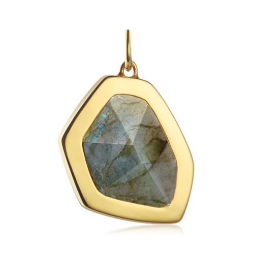 Gold Vermeil Petra Large Pendant - Labradorite - Monica Vinader