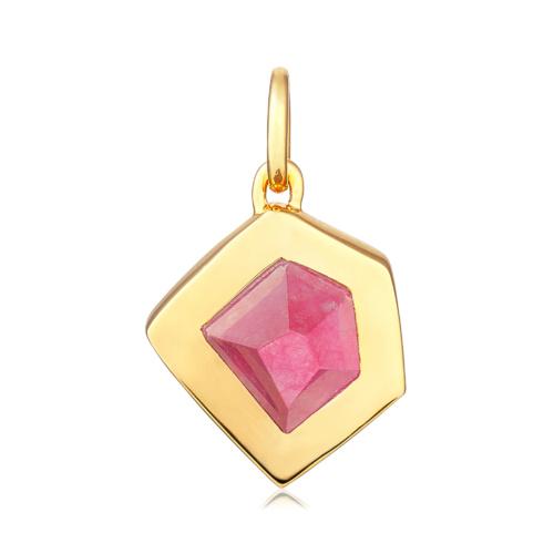 Gold Vermeil Petra Pendant - Pink Quartz - Monica Vinader