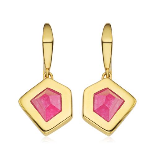 Gold Vermeil Petra Wire Earrings - Pink Quartz - Monica Vinader