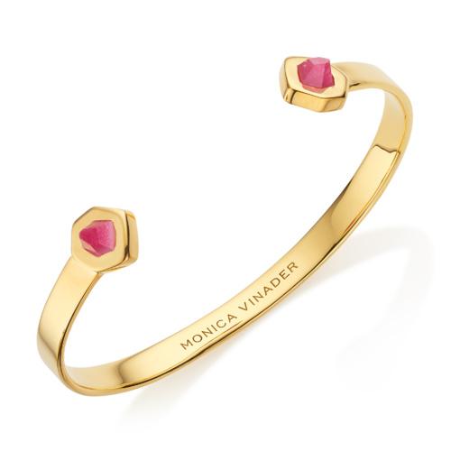 Gold Vermeil Petra Thin Cuff - Pink Quartz - Monica Vinader