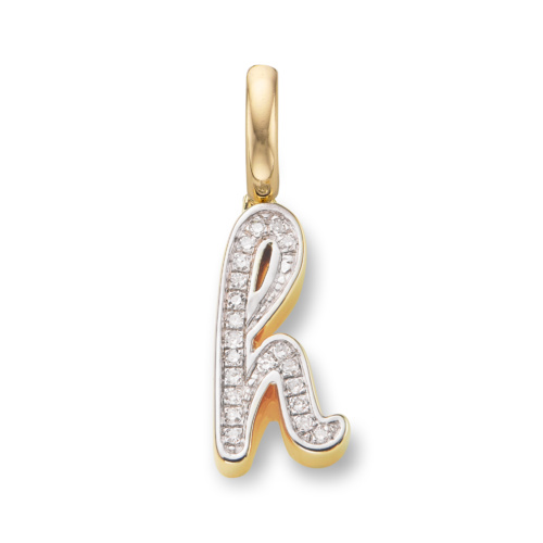 Gold Vermeil Diamond Alphabet Pendant H - Diamond - Monica Vinader