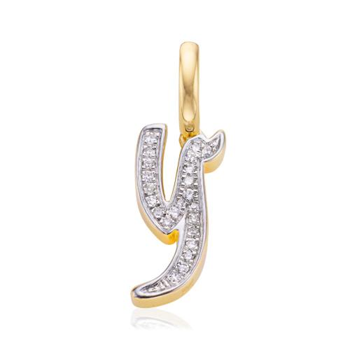 Gold Vermeil Diamond Alphabet Pendant Y - Diamond - Monica Vinader