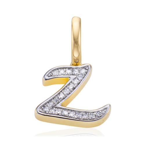 Gold Vermeil Diamond Alphabet Pendant Z - Diamond - Monica Vinader