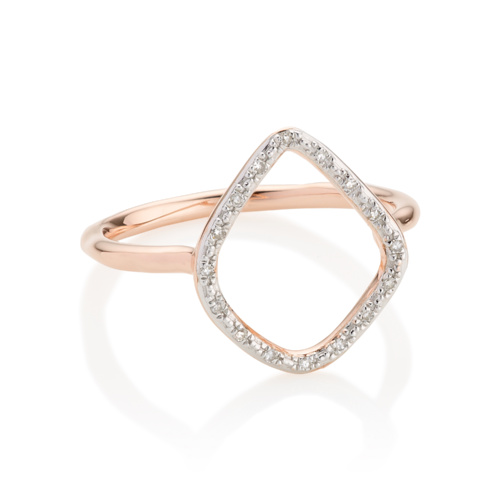 Rose Gold Vermeil Riva Diamond Hoop Ring - Diamond - Monica Vinader